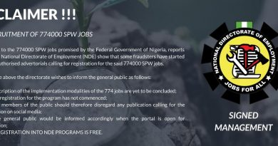 NDE Recruitment 2020 - 774000 SPW Jobs (www.nde.gov.ng)