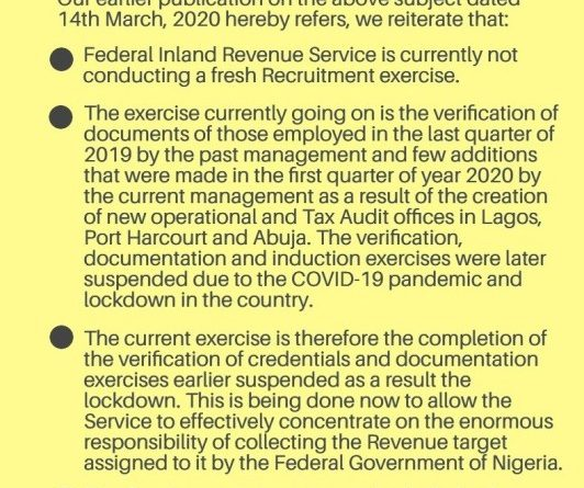 Firs Recruitment 2020 Application Form at www.firs.gov.ng Portal