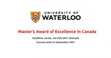 Waterloo International Master's Award of Excellence 2021/2022
